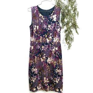 Lands' End Ponte Floral Purple Fall Sheath Dress 2